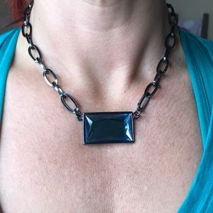 Lia Sophia Pewter & Blue Stone Chainlink Necklace